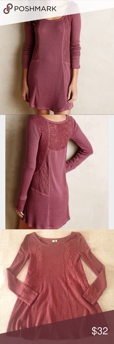 """Anthro Eloise Gwyneria Lace Tunic Gently used knit tunic by Anthropologie's brand Eloise. It's in size X-small. Does have a couple is tiny snags as shown in pictures 7 & 8. The inside of the sleeves have white gray stripes. Great piece for fall with some leggings and boots!                                                           Length:  31""""                                                           Bust: 15""""                                                           Shoulder to shoulder: 15…"""