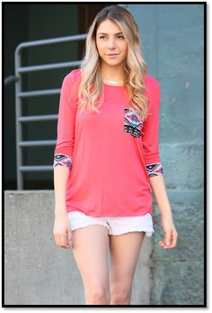 Coral Aztec 3/4 Sleeve Pocket Top – The Southern Pink Boutique