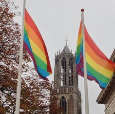 Rainbowflags fly in Utrecht at National Coming Out Day 2013