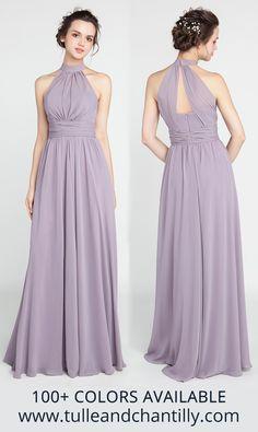 Lavender bridesmaid dresses #bridesmaids Patterned Bridesmaid Dresses, Lavender Bridesmaid Dresses, Trendy Dresses, Prom Dresses, Wedding Dresses, Midi Dresses, Vestidos Halter, Wedding Color Pallet, Dress Brokat