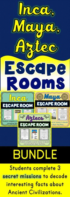 The Ancient Civilizations Escape Room BUNDLE will take students on three separate secret missions around the classroom! The escape rooms have students decode interesting facts about three Ancient Civilizations. This is the perfect resource to introduce the Maya, Inca, Aztecs, Francisco Pizarro, Hernan Cortes or Machu Picchu. The Ancient Civilizations Escape Room have students walking around the classroom breaking codes. #escape #activities