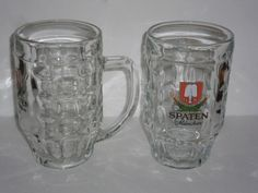 TWO Spaten Munchen 0.5 Liter Dimpled Glass Beer Stein Mug G S Made in Italy
