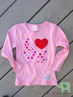 Girl's Valentine's Shirt LOVE on Etsy, $18.50