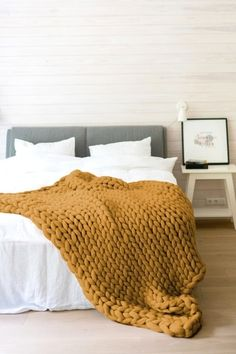 Mustard yellow chunky knit blanket