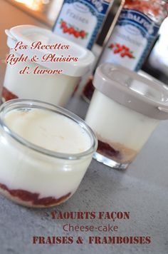 Yaourts Façon Cheese-cake Fraises & Framboises Cheesecake, Sorbets, Panna Cotta, Pudding, Ethnic Recipes, Desserts, Nature, Queso Blanco, Raspberries