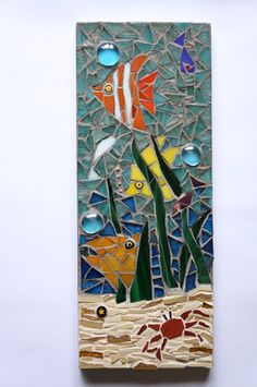 Mosaic Fish Wall Plaque Underwater Scene  £49.00