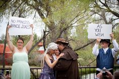 "Cue cards in the spirit of Stephen Colbert's ""the W0rd"" (the V0ws) . Ha ha love this (used for when the vows are private, to entertain the guests).   there must be Princess Bride jokes on my wedding day"