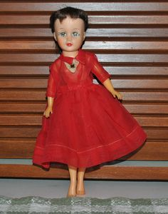 Vintage Uneeda Tiny Teen Girl Doll Suzette Miss Revlon Clone with Red Dress #Uneeda #DollswithClothingAccessories