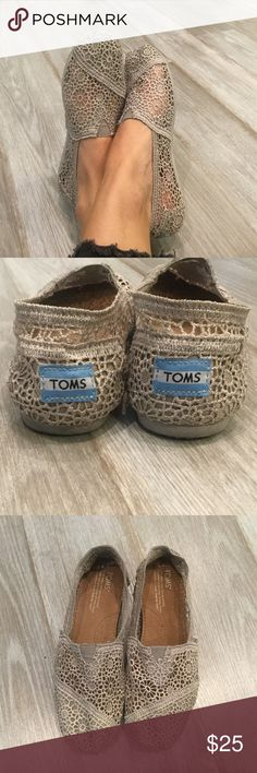 TOMS Crochet Shoes-Gray Worn ONCE! Toms classic crochet shoe in gray. Super cute! Excellent condition! TOMS Shoes