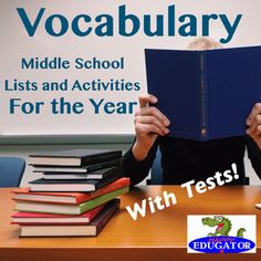 Vocabulary Lists, Activities and Tests for the Year by HappyEdugator Vocabulary Instruction, Vocabulary List, Vocabulary Activities, Middle School Teachers, High School Classes, School Resources, Teacher Resources, Spelling Rules, School Levels