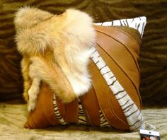 Leather throw pillow and bolster- set of leather and fur/saddle tan : Leather throw pillow and bolster- set of two/real fur by on Etsy Leather Throw Pillows, Leather Pillow, Bolster Pillow, Pillow Set, Pillow Arrangement, Colorful Pillows, Accent Pillows, Real Leather, African Fashion