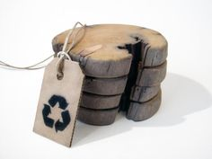 Driftwood coasters. Icelandic driftwood. Set of 4. by Railis
