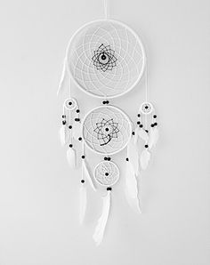 White Dream Catcher, Large Triple Dream Catcher, Dreamcatcher, handmade, black beads, white feathers, home decor von MagicalSweetDreams auf Etsy https://www.etsy.com/de/listing/219832461/white-dream-catcher-large-triple-dream