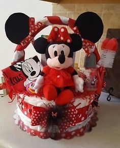 Minnie Mouse Theme Diaper Cake Gift Basket Made To Order For Girl / Boy(Mickey) Mickey Mouse Gifts, Minnie Mouse Theme, Mickey Mouse Birthday, Creative Gift Baskets, Diy Gift Baskets, Diaper Cake Basket, Home Depot, Themed Gift Baskets, Gift Cake