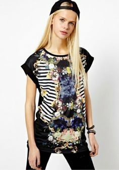 Black Polyester Round Neck Short Sleeve Print TOPS