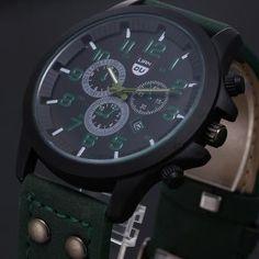 Reloj de cuarzo ejército del deporte clásicos de los hombres de la vendimia-Verde