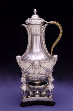 "Silver coffee pot and stand,1769s,  English, Boulton & Fothergill- Example of neo-classical design, known to Matthew Boulton's contemporaries as the ""antique manner', it was based on ancient Roman and Greek architectural and decoratie forms and became fashionable from around the 1760's."
