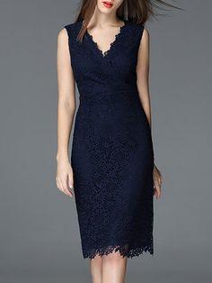 Dark Blue Lace Work V Neck Sheath Midi Dress
