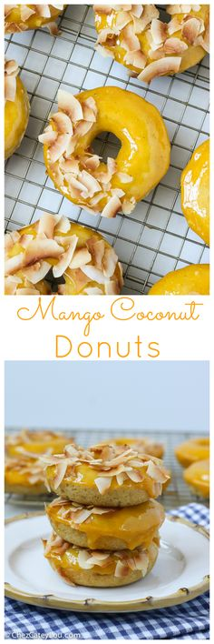 Brown butter baked donuts are topped with a fresh mango glaze and topped with toasted coconut. These tropical donuts will transport you to the islands! | http://ChezCateyLou.com