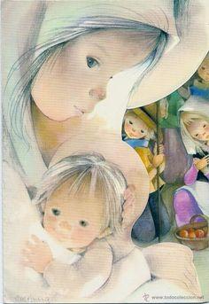Sabadell Serie Miriam - Troquelada - Triptica x cms. Christmas Clipart, Pink Christmas, Christmas Printables, Christmas Cards, Illustrations, Illustration Art, O Holy Night, Holly Hobbie, Blessed Mother