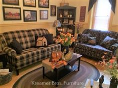 Country Sofas, Room Ideas, Decor Ideas, Primitives, Couch, Living Room, Furniture, Home Decor, Settee