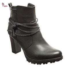 Angkorly - Chaussure Mode Bottine low boots plateforme femme peau de serpent lanière Talon haut bloc 8 CM - Intérieur Fourrée - Noir - F193-1 T 36 - Chaussures angkorly (*Partner-Link)