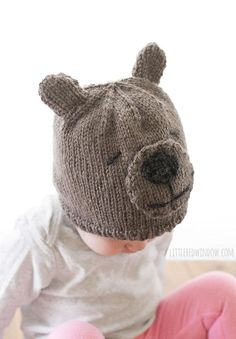Adorable Teddy Bear Knit Hat | This knit baby hat is just too cute for words!