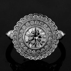 art deco pave wedding band | Art Deco Halo Style Platinum Pave Diamond Engagement Ring Mounting