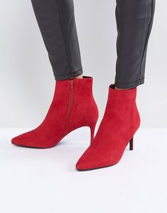 c98c0a0b66f Shop Dune London Pull on Heeled Sock Boot in Red Suede at ASOS.