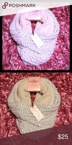 Juicy Couture wool/fur white scarf NWT Brand new with all tags Juicy Couture cowl scarf. White fur on inside with white wool yarn and silver sparkly thread accents in the weaving. Beautiful scarf that would go with anything! Non smoking and non pet household. Juicy Couture Accessories Scarves & Wraps