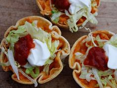 You won't have to worry about these taco shells falling over—they're baked right in a muffin tin and are ready to be filled to the brim with salsa-spiced chicken, cheese and your favorite taco fixins. If you've stocked up on ground beef, feel free to use that instead of the chicken. You can even make your own tortilla chips with the leftover tortilla scraps!