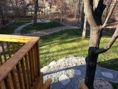 Dry Creek Bed, Crushed Gray Trap Path, Silvercreek Steppers, interlock Fieldstone Patio, and Grand Fire Ring Dry Creek Bed, Fire Ring, Paths, Landscaping, Gray, Outdoor Decor, Home Decor, Decoration Home, Room Decor