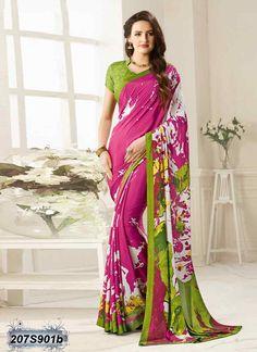 Dreamy Pink coloured Bemberg Silk Printed Saree