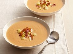Simmer one 15-ounce can pumpkin, 2 cups chicken broth, 1/2 cup cream, 2 tablespoons maple syrup and 1/2 teaspoon pumpkin pie spice, whisking, 5 minutes. Cook 1 cubed apple in butter until soft. Top the soup with the apple and crumbled cooked bacon.