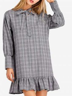 Prezzi e Sconti: #Flounce bow collar plaid mini dress  ad Euro 17.59 in #Women > dresses > casual dresses #Dresses