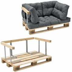It's that easy to make a sofa from pallets yourself - Diy Möbel Pallet Sofa, Diy Pallet Furniture, Diy Pallet Projects, Furniture Design, Pallet Ideas, Pallet Cushions, Furniture Plans, Furniture Removal, Recycled Furniture