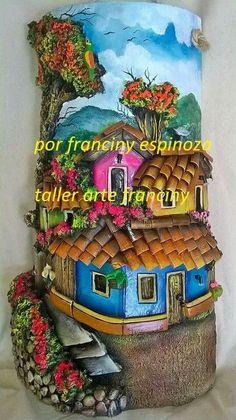 Francine Espinoza. Teja decorada. Polymer clay wall art