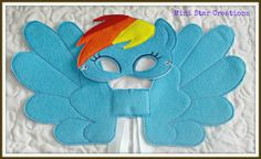 Handmade Kids Eye Mask and Large Wings Set - Rainbow Dash - My Little Pony in Clothing, Shoes, Accessories, Costumes,…