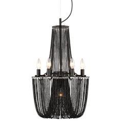 Possini Euro Design Sweeping Chain 6-Light Black Chandelier