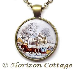 Christmas by Currier & Ives  Winter Morning in by HorizonCottage