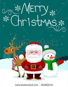 Santa and friends deer snowman marry christmas card