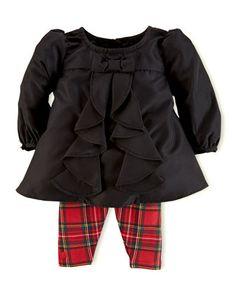 Taffeta Tunic & Plaid Leggings Set, 3-24 Months  by Ralph Lauren Childrenswear at Neiman Marcus.