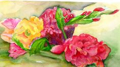 Cockscomb and Gladiolas original watercolor painting, flowers art work