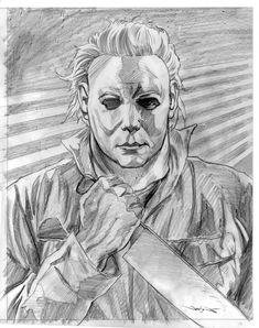 Michael Myers Badass Drawings, Creepy Drawings, Dark Art Drawings, Pencil Drawings, Horror Drawing, Halloween Film, Slasher Movies, Graffiti, Horror Artwork