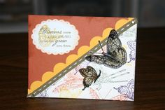 OWS Butterflies 4 Stamps: on gossamer wings, happy harmony Paper: really rust, ww, summer sun Ink: eggplant, rust, summer sun, artichoke, versamark Accessories: embossing powders, oval punch, scallop scissors, markers, paper piercer, stitched ribbon, brads