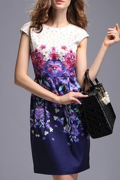 #Dezzal Shop YZXH Flower Print Back Slit Dress here, find your Mini at AdoreWe.net, huge selection and best quality.