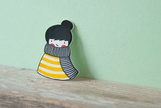 Girl with scarf - shrink plastic brooche