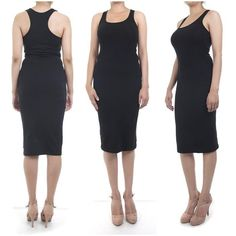 ebclo - Sexy Black Racer Back Tank Dress Knee-Length Knit Bodycon Dress NEW #ebclo #StretchBodycon #Casual $15.00 Free Domestic Shipping