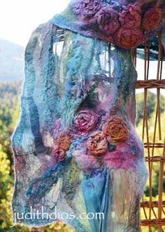 Nuno Felting, Needle Felting, Wool Yarn, Wool Felt, Fabric Jewelry, Felt Art, Three Dimensional, Fiber Art, Fashion Beauty