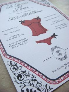 Lingerie Bridal Shower Invite in Red & Black (although they come in other colors)